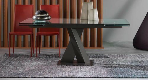 Contemporary Round Extending Glass Table LES CONTEMPORAINS AXEL ROCHE BOBOIS