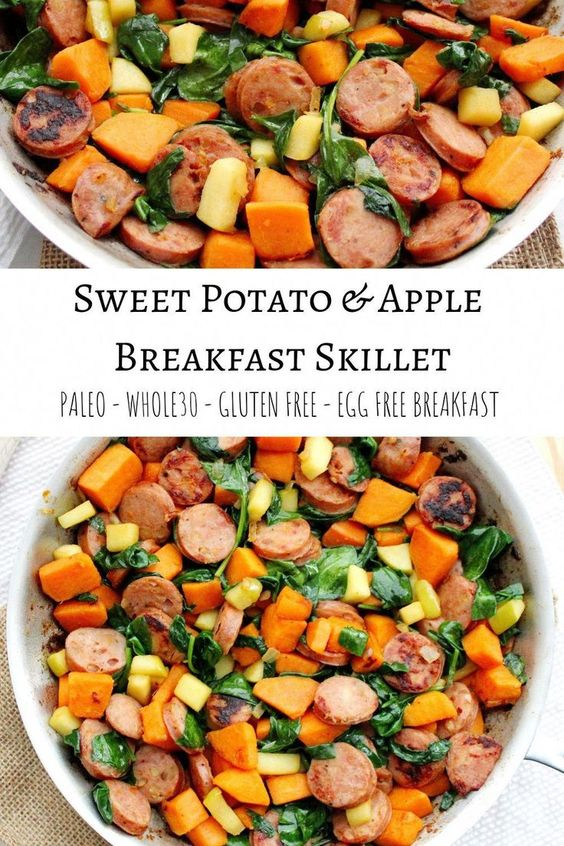 Sweet Potato and Apple Breakfast Skillet- Egg Free