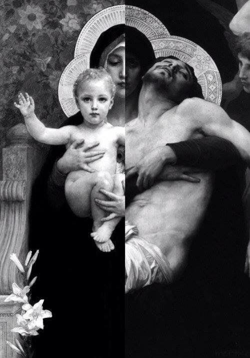 A combined picture of two paintings, probably by the same artist, showing Mary holding Baby Jesus in her arms on one side and holding the dead body of Her beloved Son on the other side. Very powerful!: