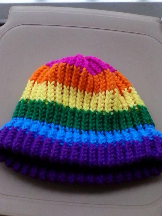 Gay Pride Rainbow Knit Cap by dreahsdesigns on Etsy, $15.00