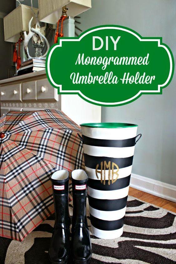 diy monogrammed umbrella holder diy monogram preppy. Black Bedroom Furniture Sets. Home Design Ideas