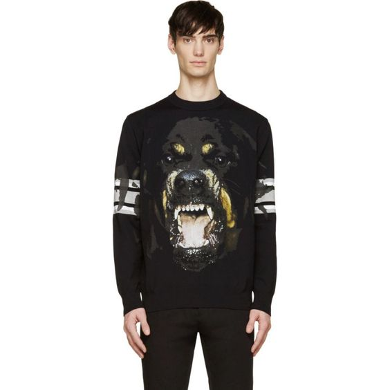 Givenchy Black Rottweiler Striped Sleeve Sweatshirt