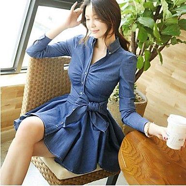 azul de mezclilla vestidos de falda de las mujeres - USD $ 32.99