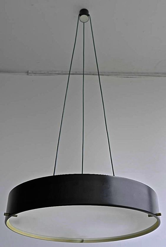 Bruno Gatta Painted Metal Brass And Glass Ceiling Light