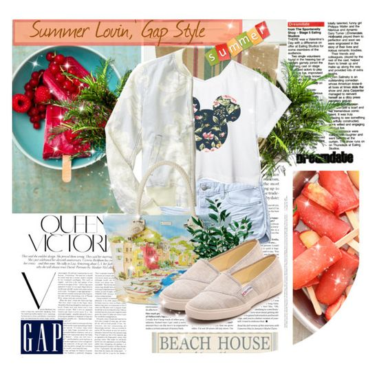 """""""Summer Lovin,' Gap Style"""" by putri-cantik ❤ liked on Polyvore featuring Libeco Home, Victoria Beckham, Lanvin, PLANT, Gap, Retrò, Kate Spade, Superga and summerloves"""