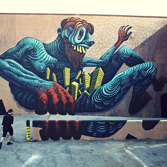 Final pic from the recent #LA wall!  Big up @lebonnard!  Thanks to koury Angelo for the pic! #LA #mural #springstreet   robotkin, artist