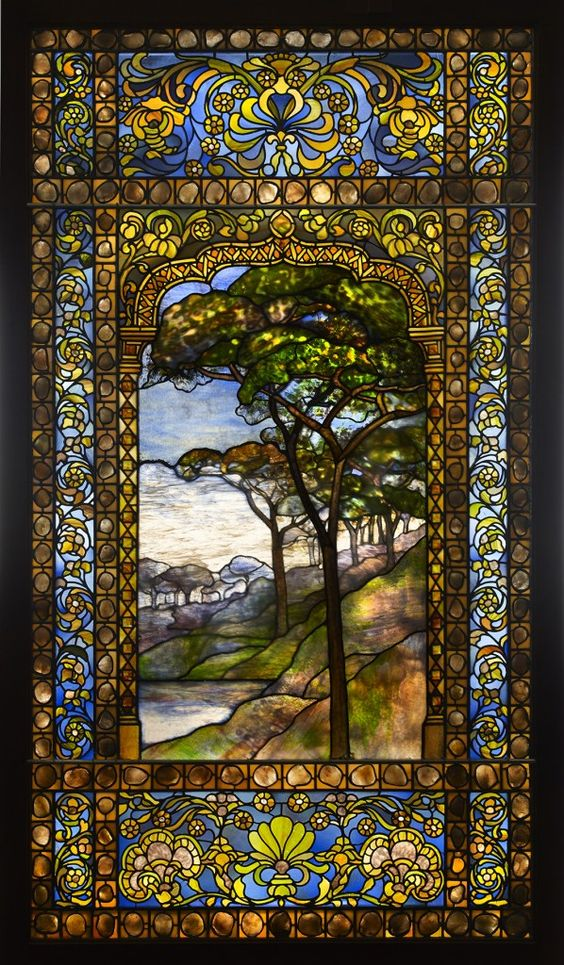 Louis Comfort Tiffany - Landscape Window, 1893-1920, Leaded Glass, Pebbles - Stunning: