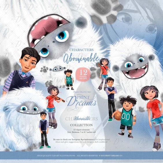 Abominable Clipart Abominable Characters Abominable Paper Etsy En 2021 Clipart Album De Recuerdos Ilustraciones