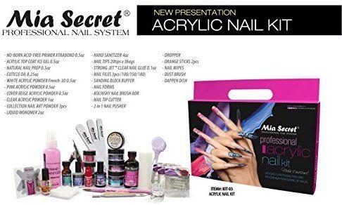 Amazon Com Mia Secret Professional Acrylic Nail Set For Beginners Kit 03 Beauty Acrylic Nail Kit Nail Kit Professional Acrylic Nail Kit