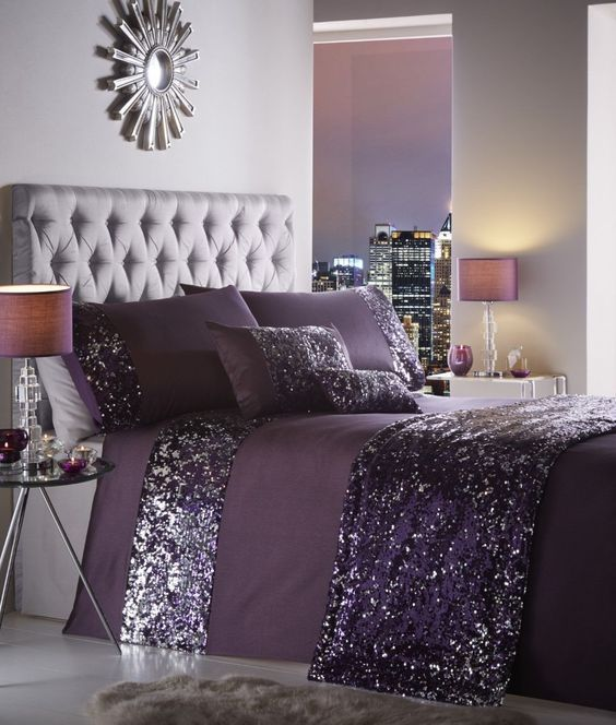 30 Amazingly Beautiful Silver Bedroom Ideas That Are The Current Trend Purple Duvet Cover Purple Bedroom Decor Silver Bedroom
