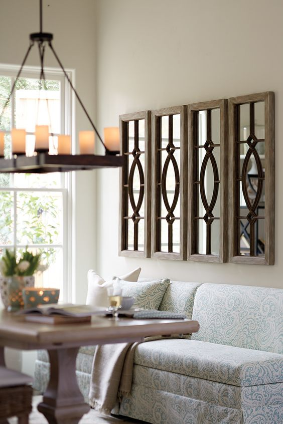 Decorating with architectural mirrors lights for living - Dining room wall art ideas ...
