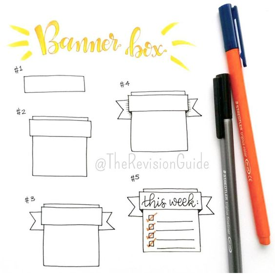 """""""How to draw a banner box... #TheRevisionGuide_HowTo add these to your notes for definitions, key points, to-do/assignment lists, chapter review etc. . . .…"""""""