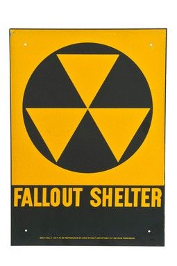 Vintage 1950's NOS Salvaged Fallout Shelter Sign