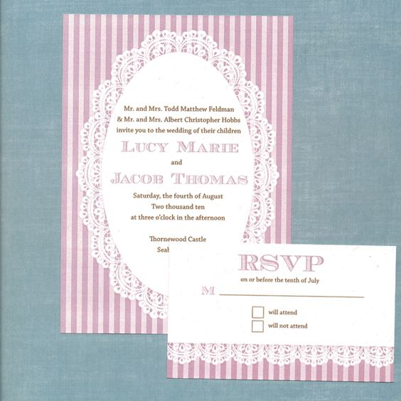 Free wedding invitation download - Lace Invitation Suite. The invitation was designed by Love and Lavender and is available free for download. It also contains a response card and a table number. You can find it here: http://www.loveandlavender.com/downloads/lace/