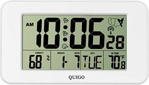 Quigo Digital Wall Clock Atomic Desk Alarm Large Display Battery Operated Bedroom Office Indoor Temperature Humidity White In 2020 Clock Digital Wall Wall Clock