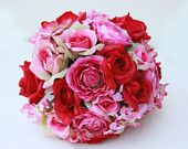 Bridal Bouquet, Wedding Fabric Bouquet Pink Red and Roses Pink Hydrangea, Garden Flowers Bouquet
