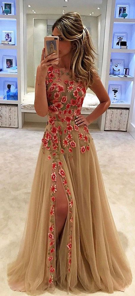 Unique Tulle Prom Dress,Applique Long Prom Dress With Side Slit,Sleeveless Prom Dress,Formal Dress,Prom Dresses 2017: