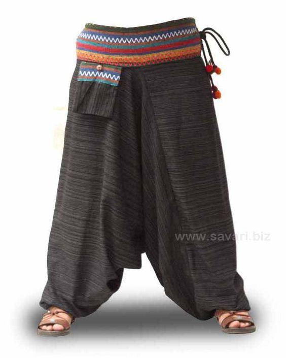 Pantalones cagados en colores variados y algodón 100%. Cintura elástica.  http://www.savari.biz/123-pantalones-afganos