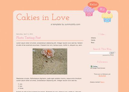 Blogger Candy - Free Blogger + Blogspot templates: Cakies in Love