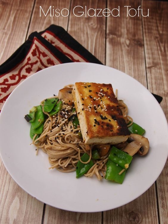 Miso Glazed Tofu with Soba #vegan #meatless