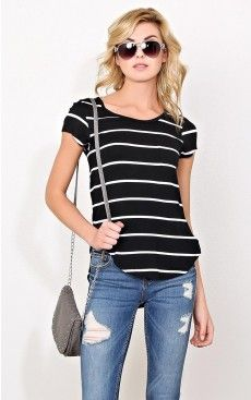 Frenchie Striped Knit Pocket Tee