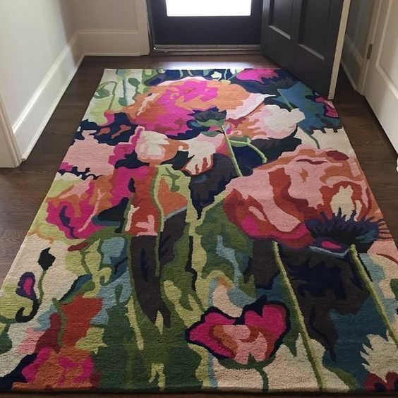 Flower Clm2309051m Rug Rectangular Indoor Outdoor Area Carpet Flat Weaven Non Slip Poppy Rug Home Decor Home