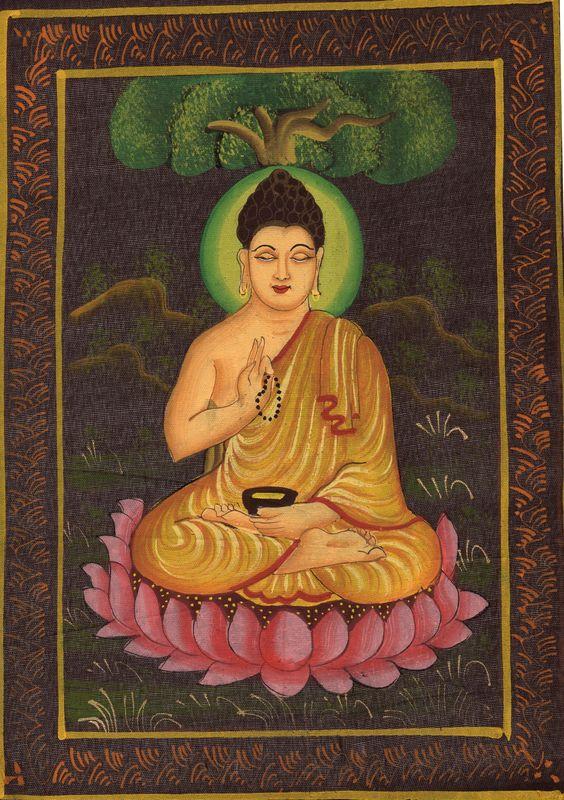 Buddha Painting Siddhartha Gautama Buddhist Rare Handmade Spiritual Cotton Art