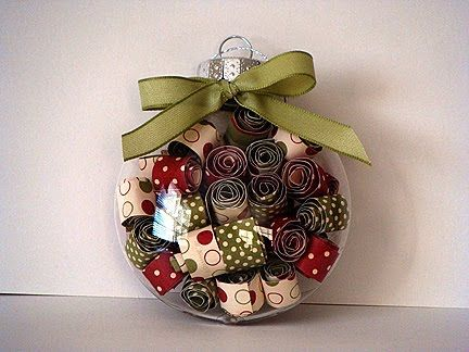 Rolled up scrapbook paper inside clear Christmas ornaments.  I made these a few years ago, and they are still beautiful!!