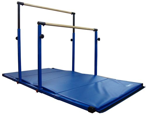 Nimble Sports 3-PLAY is designed to change from the adjustable horizontal bar to the adjustable uneven bars and to the adjustable parallel bars. Base extensions and gymnastics mat included!
