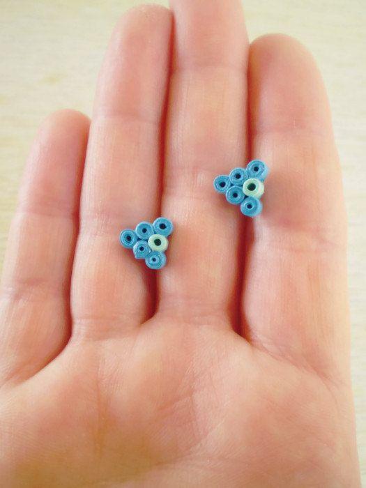 Stud Earrings Blue Mint Green   Minimal Paper Jewelry   Triangular Studs Eco-Friendly  / Σκουλαρίκια από χαρτί
