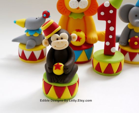 edible fondant circus animals cake toppers por edibledesignsbyletty kids pinterest animaux. Black Bedroom Furniture Sets. Home Design Ideas