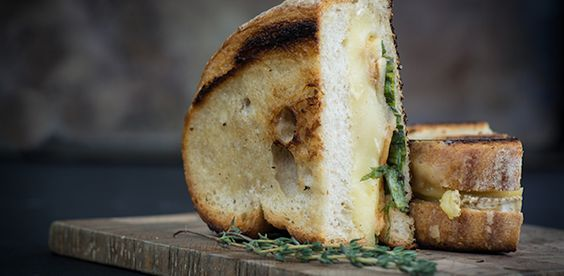 Roasted Apple and Brie Grilled Cheese with Thyme-Infused Butter