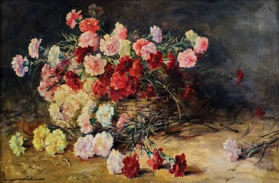 Cesto de palha com cravos Carlos Oswald (Brasil, 1882-1971) óleo sobre tela, 60 x 90 cm