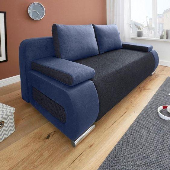 Collection Ab Schlafsofa Mit Federkern Inklusive Bettkasten In 2020 Schlafsofa Blau Couch Grau Graues Sofa