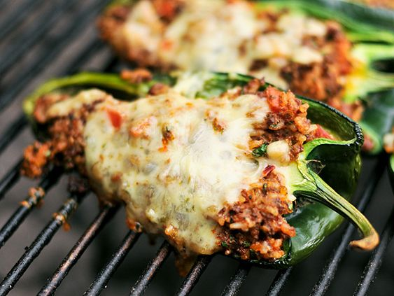 Chef Sam is working on these Grilled Chorizo Stuffed Poblano Peppers right now! (I am working on the margaritas...)
