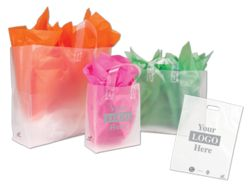 Oxo-biodegradable Frosted Clear Bags - eco-chic! Your store's bags will totally biodegrade in 2-4 years. That's 500 times faster than a convential poly bag.