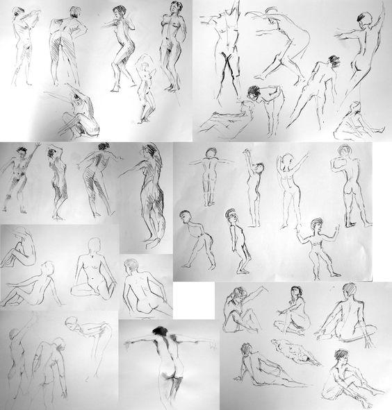 Voici un tout petit échantillon des dizaines de croquis que nous avons fait lors du dernier cours de modèle vivant de l'année. Nous avions la chance d'avoir un modèle particulièrement créatif qui nous a proposé des poses très dynamiques et expressives...