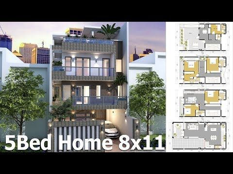 5 Bedroom 4 Story House Plan 8x11m This Villa Is Modeling By Sam Architect With 4 Stories Tiny House Floor Plans Architectural House Plans Bedroom House Plans