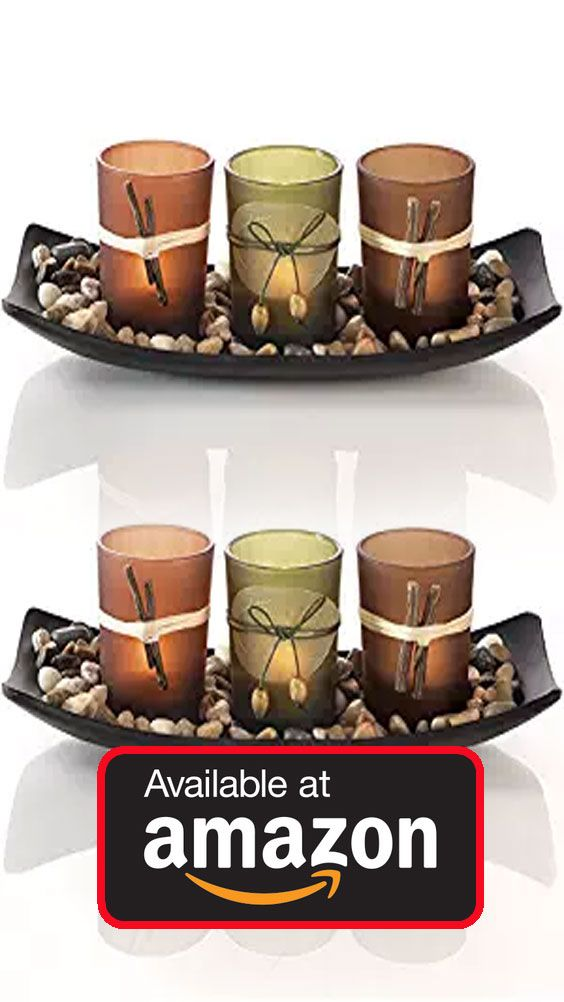 Dawhud Direct Natural Candlescape Set,3Decorative Candle Holders,Rocks and Tray