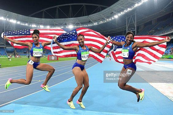 Bronze medallist USA's Kristi Castlin, gold medallist USA's Brianna Rollins and…
