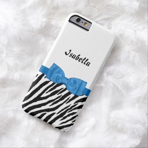 Get your girly on with this cute zebra print on a white background slim #iPhone6case. This trendy animal pattern is decorated with a pretty ribbon tied into a stylish big blue bow. Fashionable young teen girls will love to have this design personalized with their name.