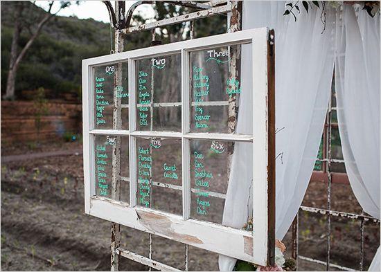 vintage window pane seating chart