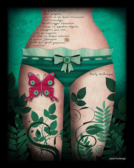 The butterfly obtains But little sympathy Though favorably mentioned In Entomology - Because he travels freely And wears a proper coat The circumspect are certain That he is dissolute Had he the homely scutcheon Of modest Industry 'Twere fitter certifying For Immortality - #EmilyDickinson #illustration #green #butterfly