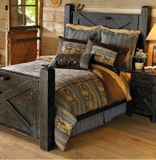 Black Distressed Barn Door Western Bed