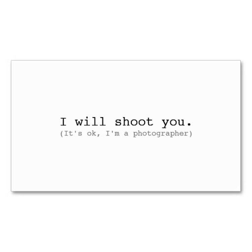 Plain white minimal funny its ok im a photographer pack of standard business cards