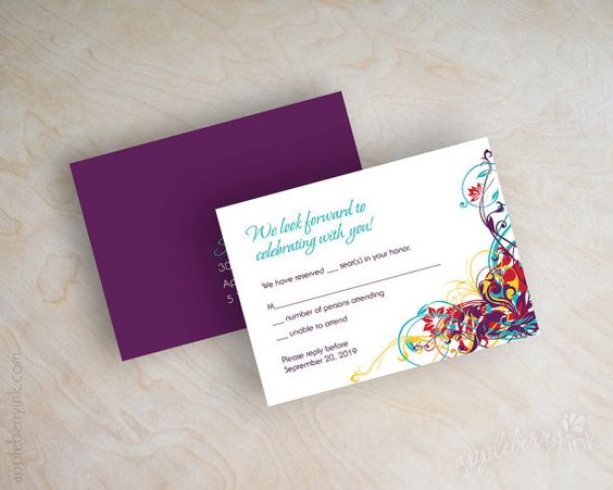 Wedding invitations contemporary swirly vines in by appleberryink, $59.00