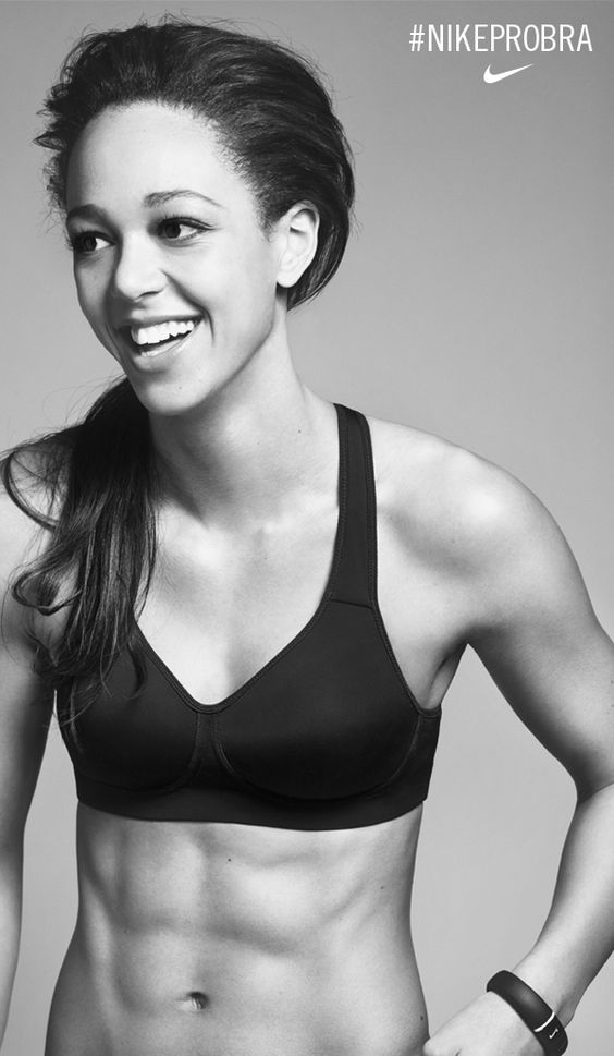 Olympic athlete Katarina Johnson-Thompson runs stronger and longer in the Nike Pro Rival Sports Bra. High support and beautiful definition for the perfect fit. #NikePro Bra