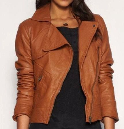 Handmade Women Brown Leather Jacket | Biker leather, Brown leather ...