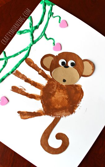 Handprint Monkey Valentine Craft for Kids - Crafty Morning: