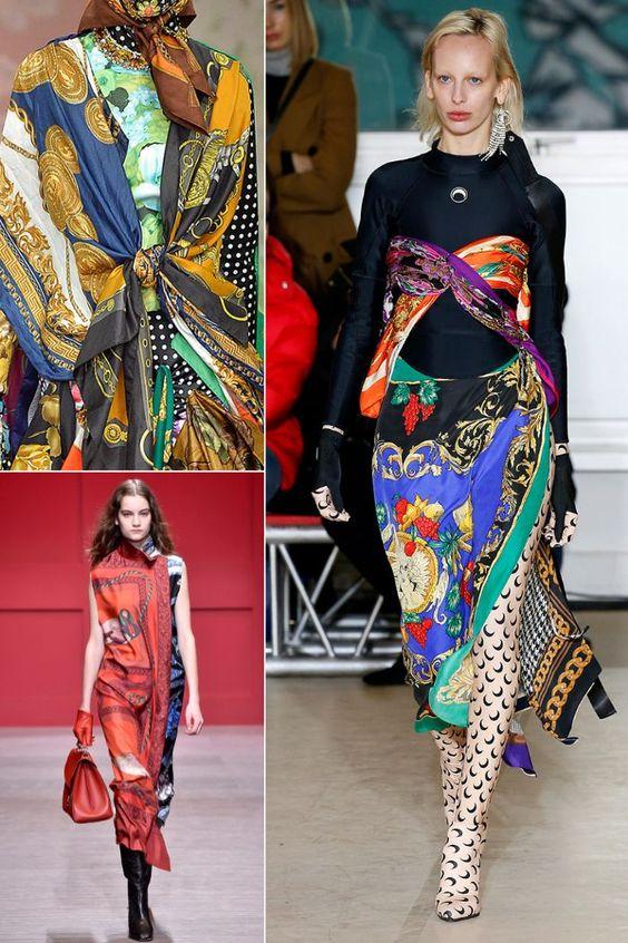 Autumn winter fashion trends 2018: scarf prints seen at Richard Quinn, Marine Serre and Salvatore Ferragamo